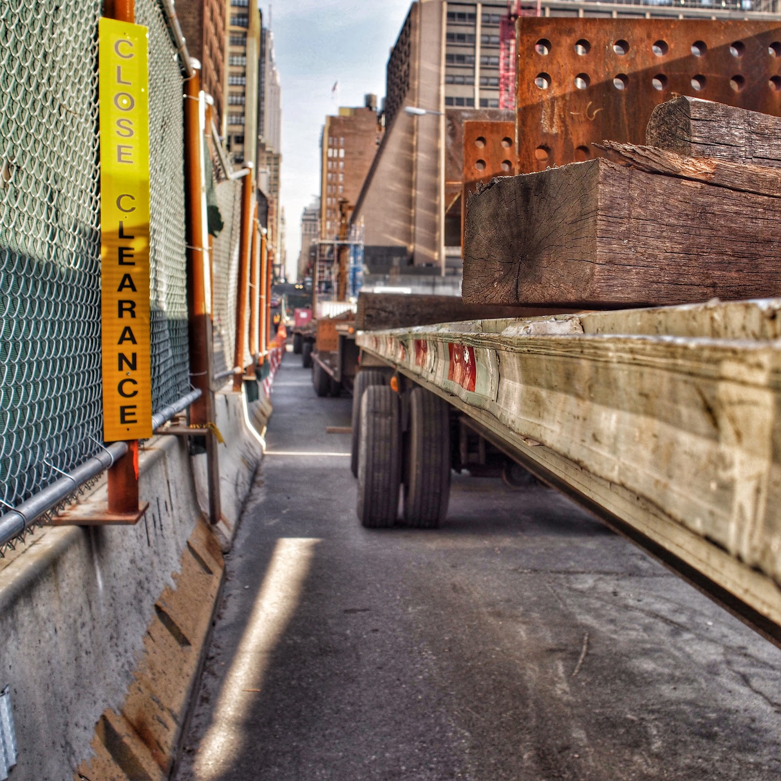 Close Clearance #CloseClearance #construction #nyc #hudsonyards #steelplates #nails ©2014 Nancy Lundebjerg
