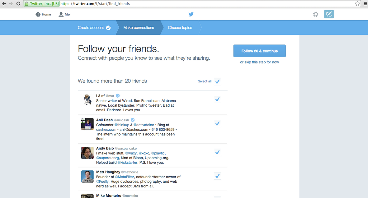 Twitter propose les contacts Gmail ayant un compte Twitter