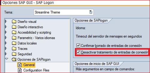 Desactivar tratamiento de entradas de conexión de SAP Logon