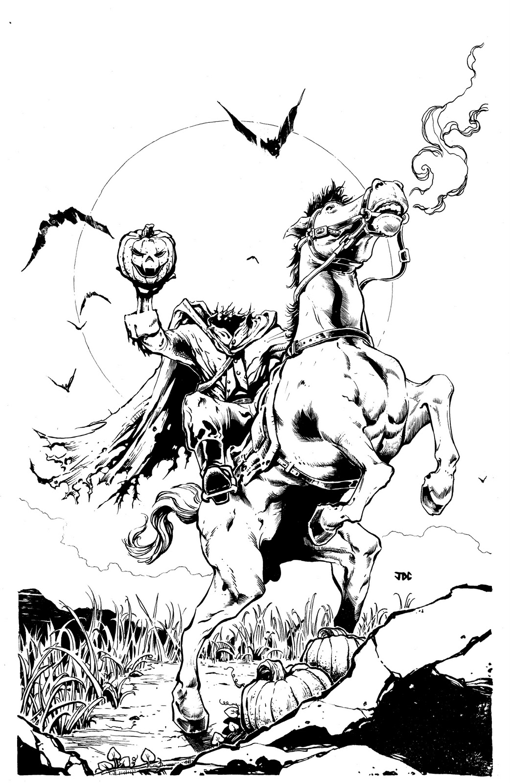 halloween spooky headless horseman coloring page animal pattern