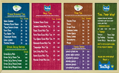 Tea Tap Cafe menu