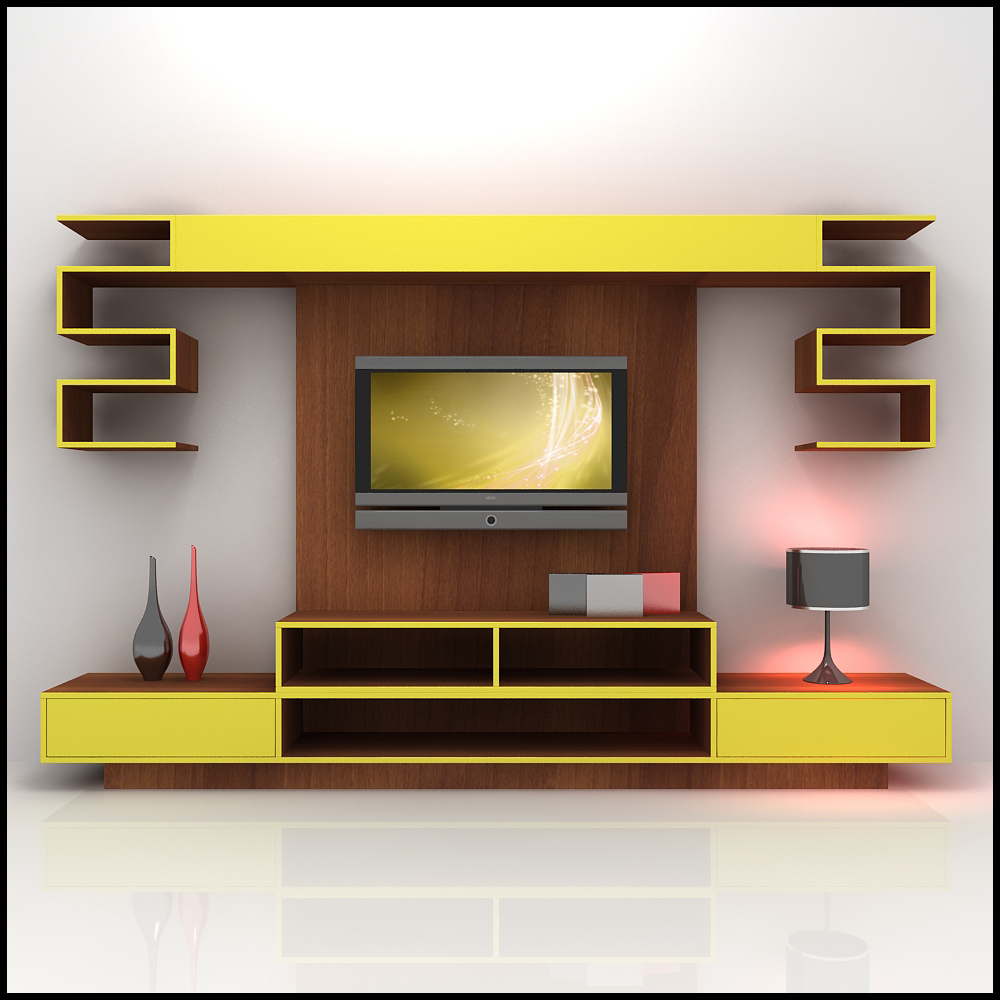 3d model yellow and wood tv wall unit design furniture for modern