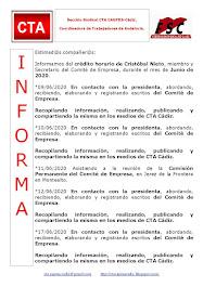C.T.A. INFORMA CRÉDITO HORARIO CRISTOBAL NIETO, JUNIO 2020
