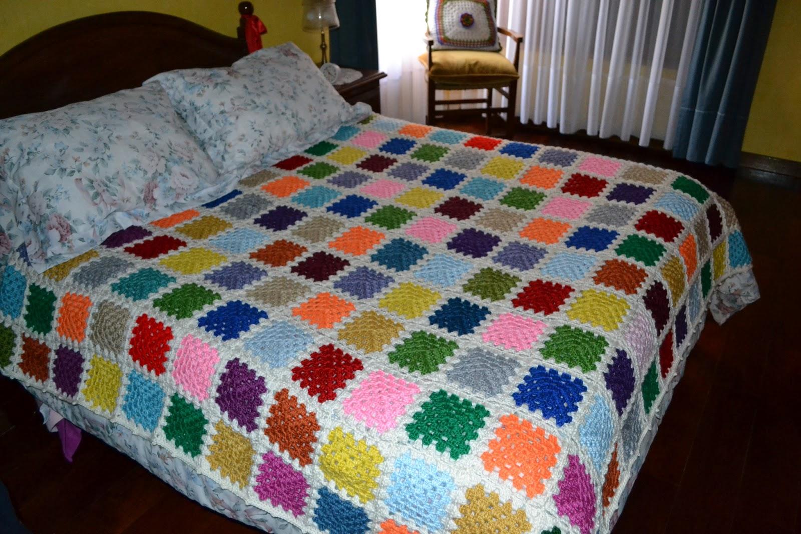 Cobija tejida de retazos en crochet - Aplicaciones de crochet para colchas ...