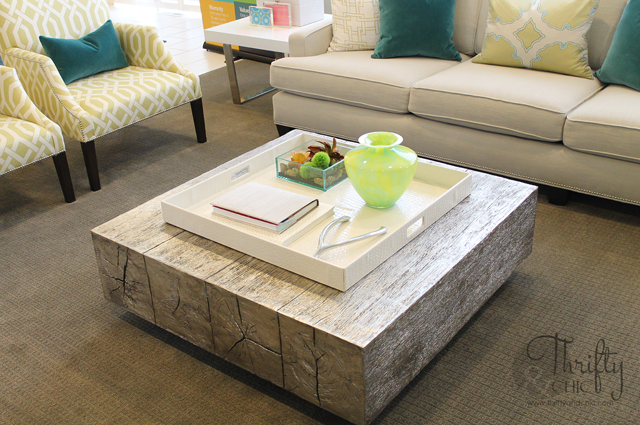 silver leaf wood coffee table