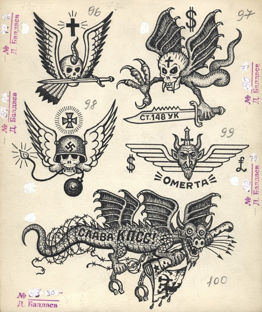 Apparently there is not so much text in the book mostly for Russian style tattoo