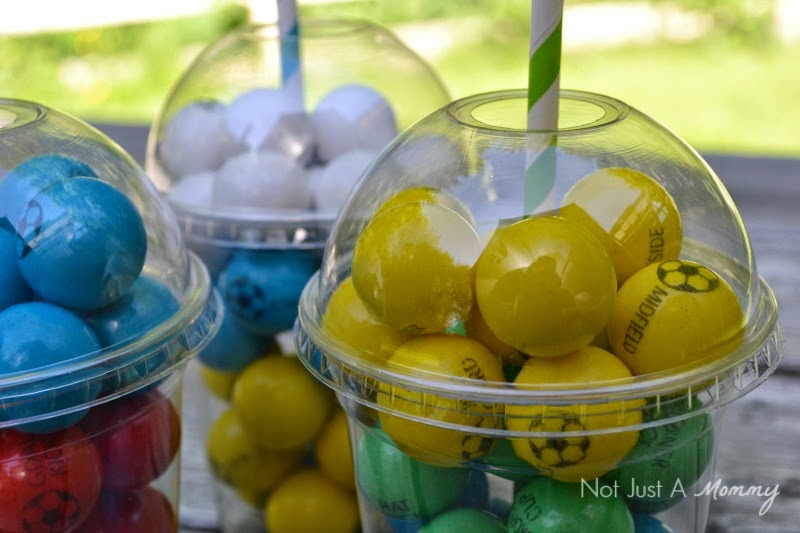soccer gumball favors with SweetWorks closeup