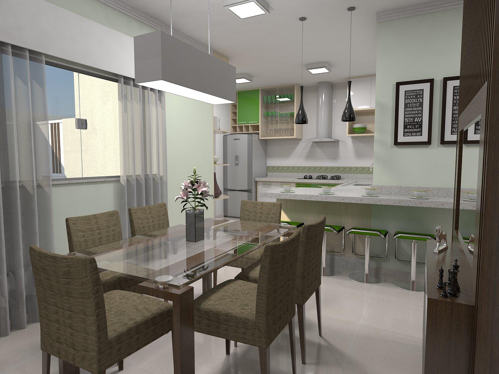 #4D5E3E Estudo Sala Jantar e Cozinha 1600x1200 px Melhores Designers De Cozinha_461 Imagens
