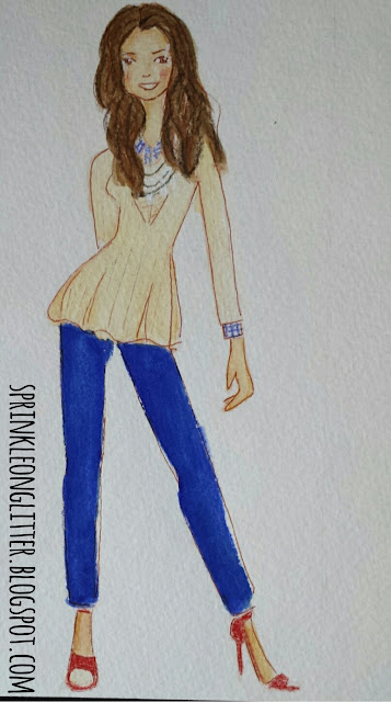 Sprinkle On Glitter Blog// Sketchworthy Reads: Extra Petite// cream peuplum sweater, navy pants, and red heels