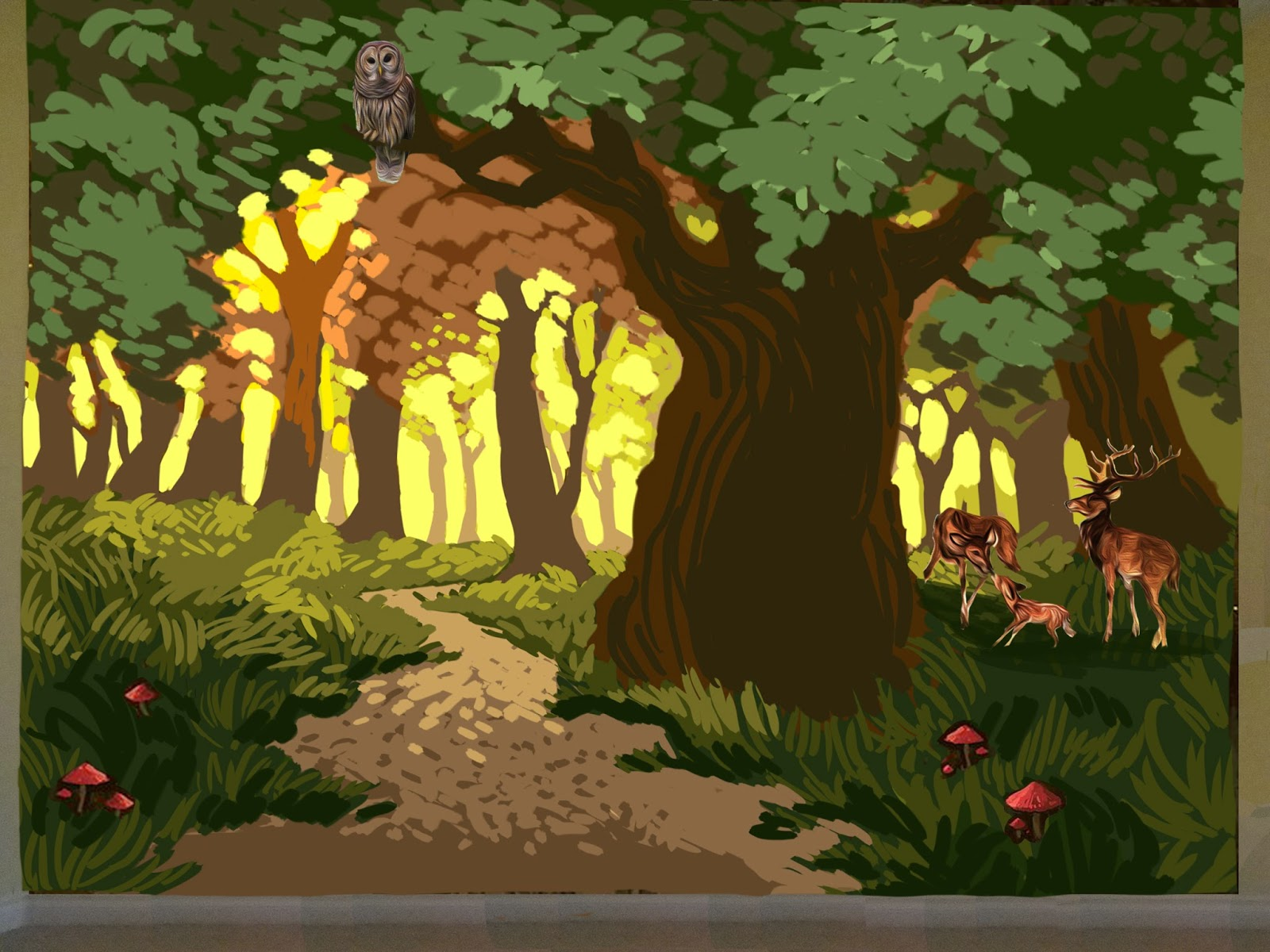 Forest mural Portland, portland muralist, trees mural, kids room forest mural
