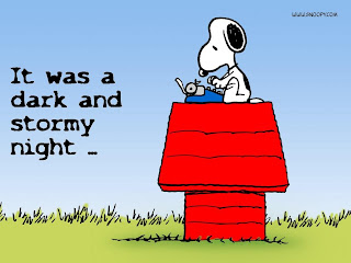 "Snoopy typing ""It was a dark and stormy night"""