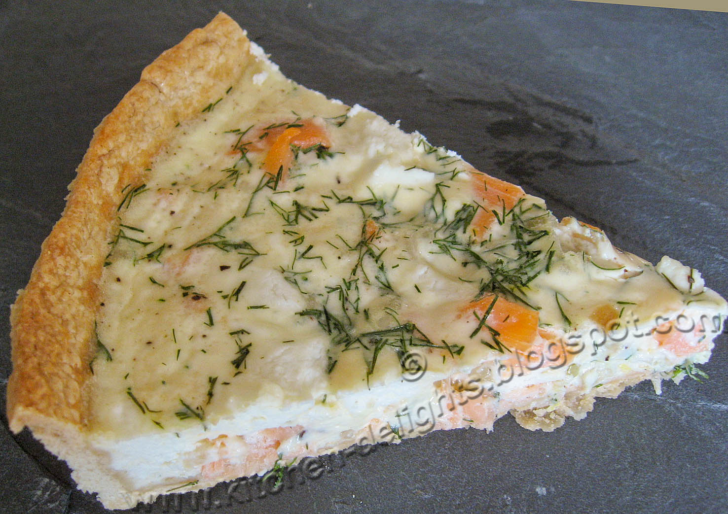Kitchen Delights: Smoked Salmon, Dill and Goats Cheese Quiche