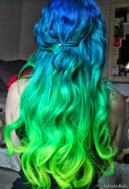 Blue and yellow hair colors style for women