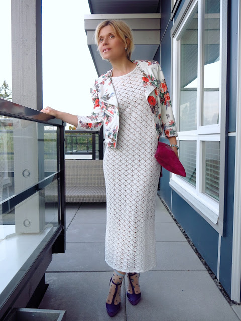 styling a white crocket midi-dress with a floral moto jacket and ankle socks with heels!
