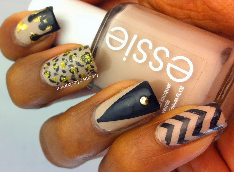 Lacquer Lockdown - nude nails, Essie Sand Tropez, Vivid Lacquer, VL010, VL005, VL009, stamping, nail art, leopard print, chevrons, watermarble, coloblock nails, gold flakies, cute nails, diy nail art, diy nails, easy nail art, nail art ideas, skittle manicure, bundle monster, cici and sisi, moyou london, konad, nude nails, nail art, freehand nails, leopard print