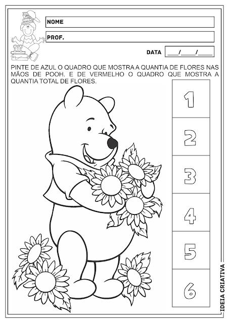 Pooh Número e Quantidade Educação Infantil Atividade