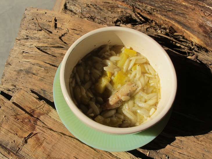 nwaFoodie: Orzo, yellow squash & chicken soup with rubbed sage.