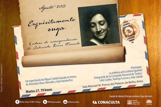 Lectura dramatizada sobre la vida de Antonieta Rivas Mercado en el Palacio de Bellas Artes