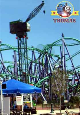 Dockyard Cranky the Crane Tower Ride Thomas town Maryland Six flags park fairground 10 meter plunge