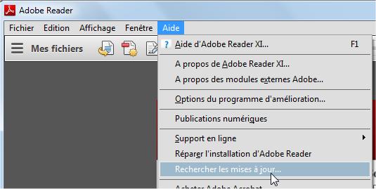 capture d'écran mise à jour de Adobe Reader