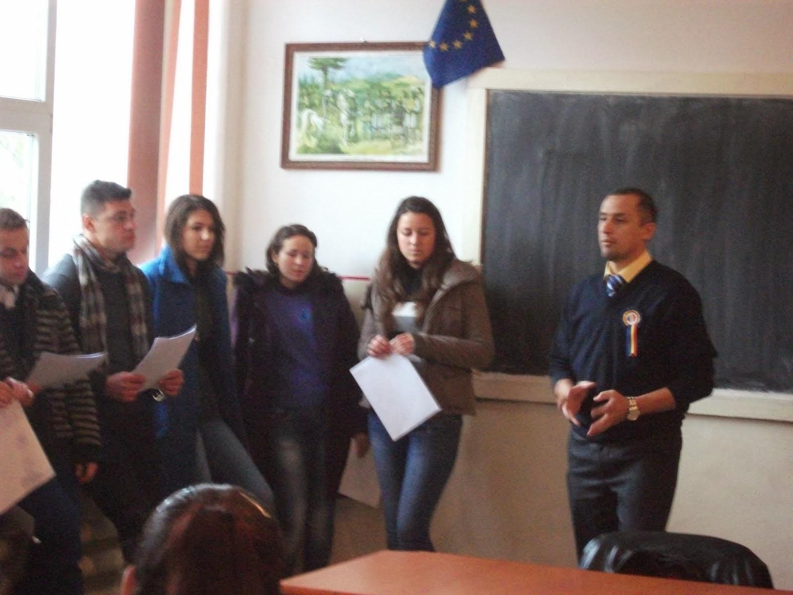 Sesiunea de comunicări ale elevilor pe tema Marii Uniri, Roznov, 29.11.2013...