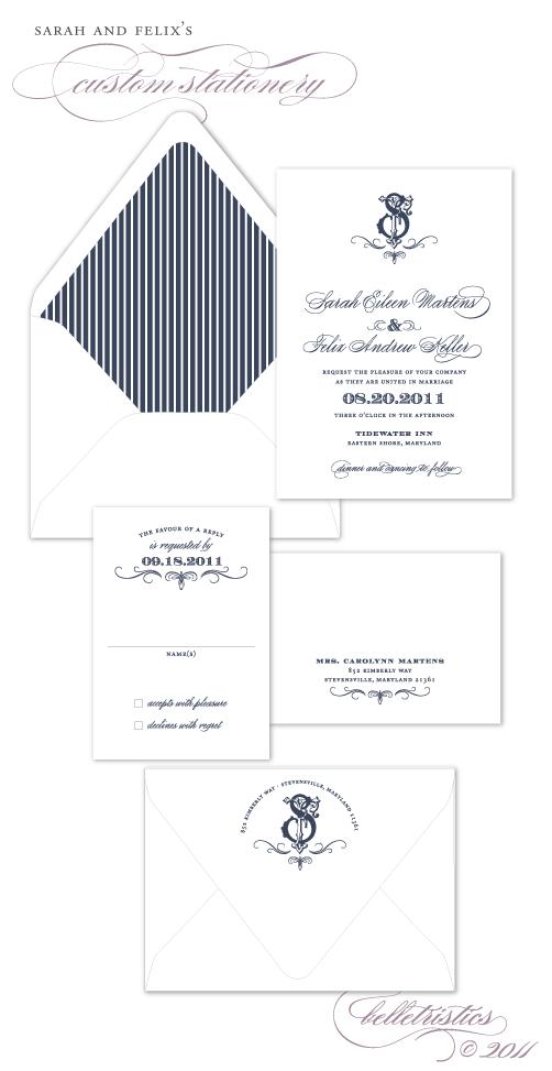 vintage monogram themed blue printable diy wedding invitation design