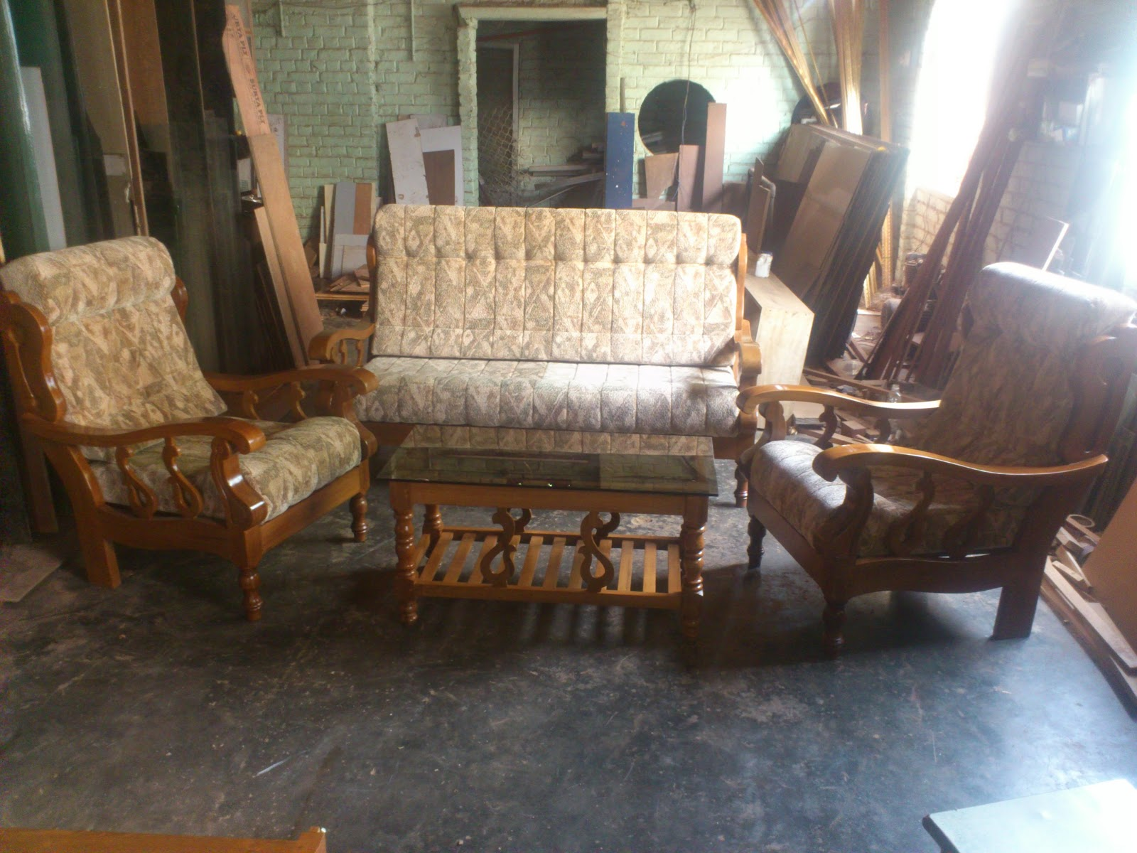 Anand Furnitures Teak Wooden Sofa Set