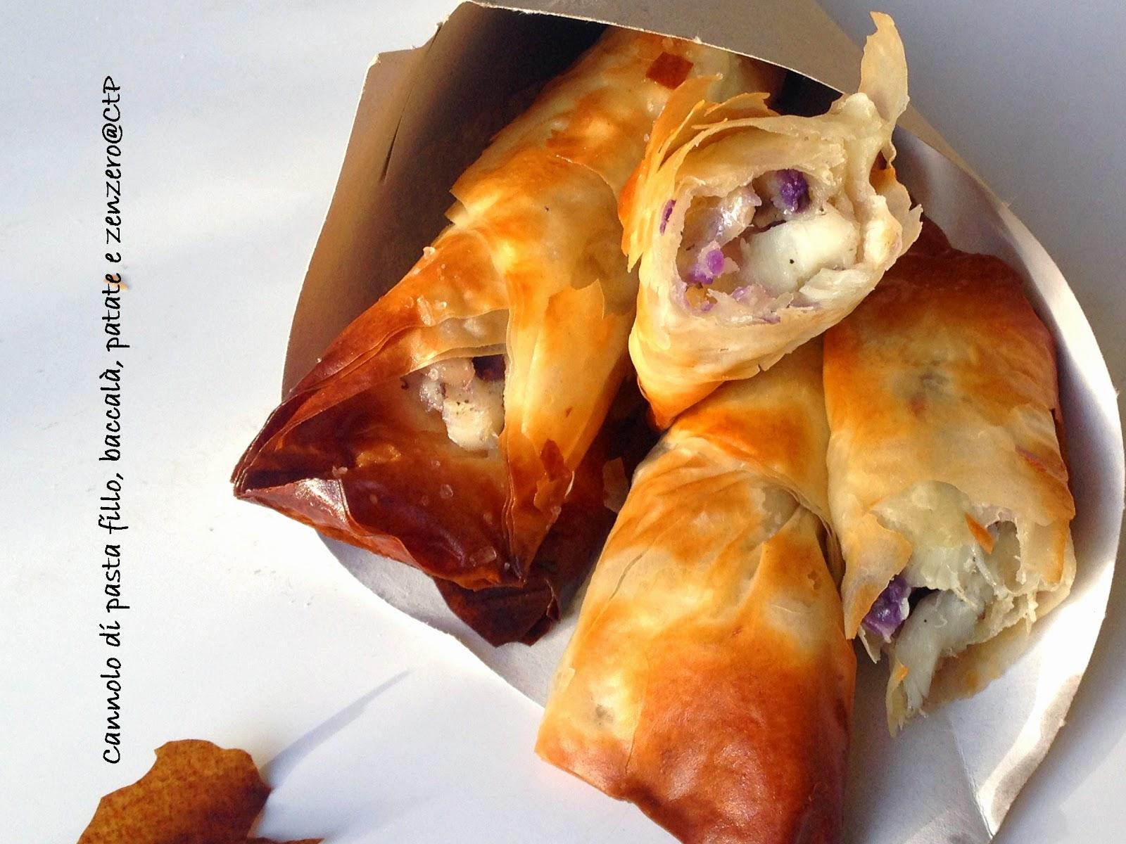 Cannoli di pasta fillo con Baccalà, Patate viola e gialle  e Zenzero vernaccia san gimigliano