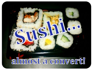 sushi, chicken, vegetable, rice,