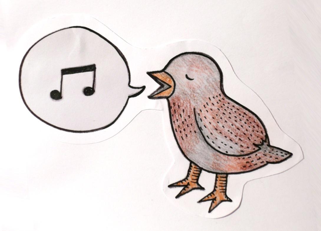 Zeichenwege singender spatz