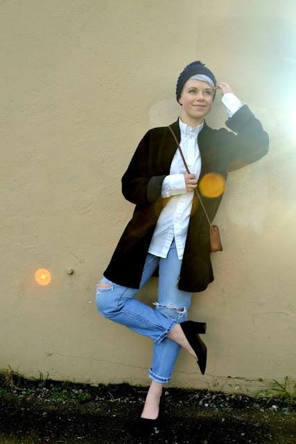 winter fashion, levi's jeans, block heels, vintage, coach