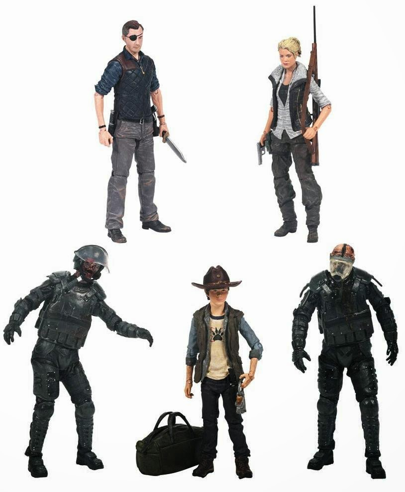 The Walking Dead Television Series 4 Action Figures by McFarlane Toys - The Governor, Andrea, Riot Gear Zombie Walker, Carl Grimes & Riot Gear Gas Mask Zombie Walker