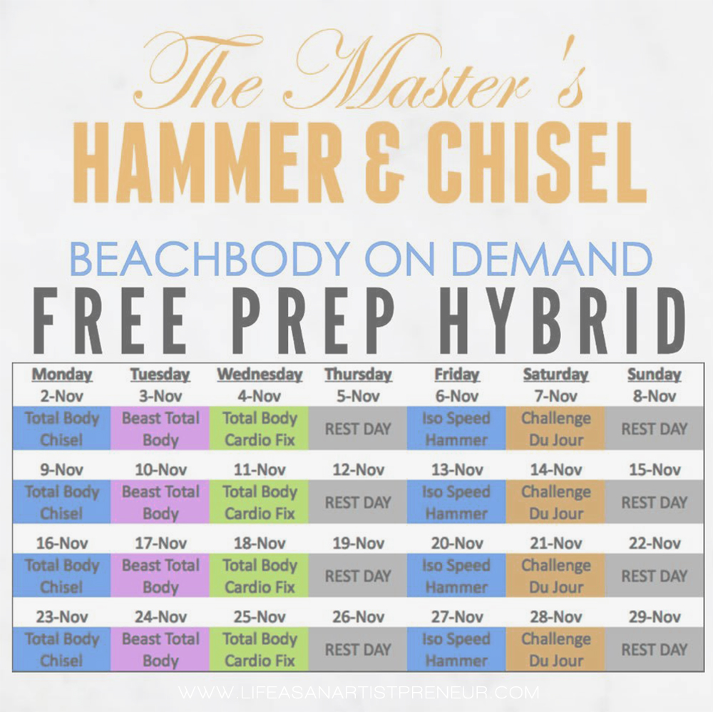 free workout calendar to prep for hammer and chisel