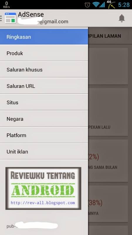 Menu aplikasi GOOGLE ADSENSE untuk melihat kinerja iklan adsense di android (rev-all.blogspot.com)