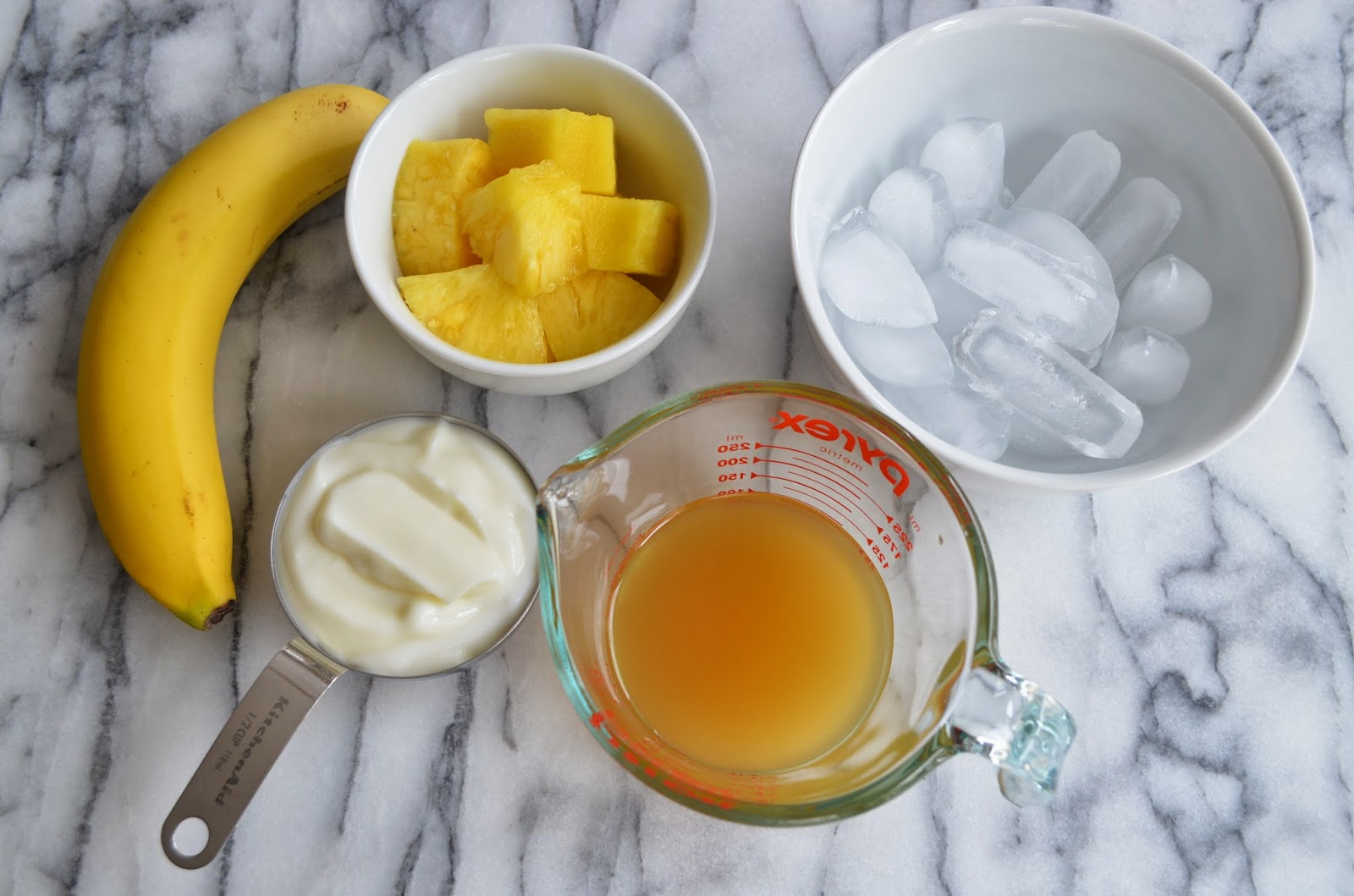 Ingredients for Banana Pineapple Smoothies - Smell of Rosemary