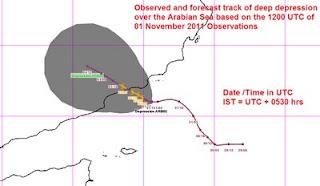 Indischer Ozean / Arabisches Meer: Deep Depression ARB02 an der Grenze zwischen Oman und Jemen, Indischer Ozean Indik, Arabisches Meer, aktuell, Tropische Depression, November, 2011, Oman, Satellitenbild Satellitenbilder,