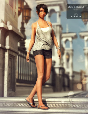 3d Models Art Zone - Casual Summer, Vigilante Outfit and Austrani Outfit for Genesis 3 Female(s)