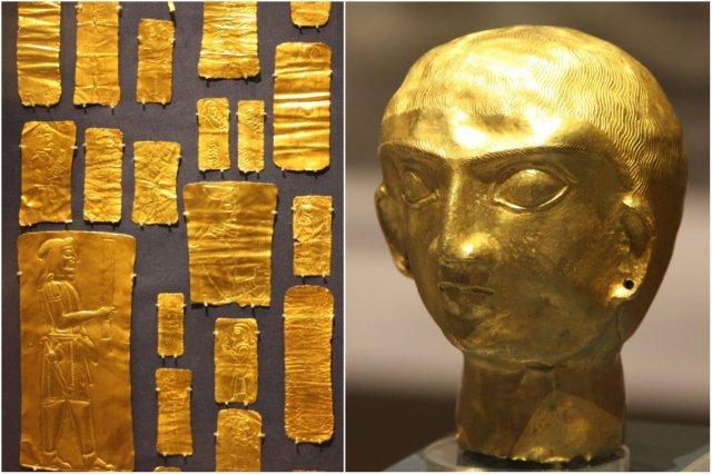 Tesoro de Oxus, Persia – Placas y cabeza de oro en el British Museum, Museo Britanico en Londres