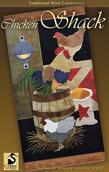 "Chicken Shack Wool Applique Wallhanging 14"" x 25"""