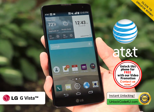 Factory Unlock Code LG G Vista from At&t