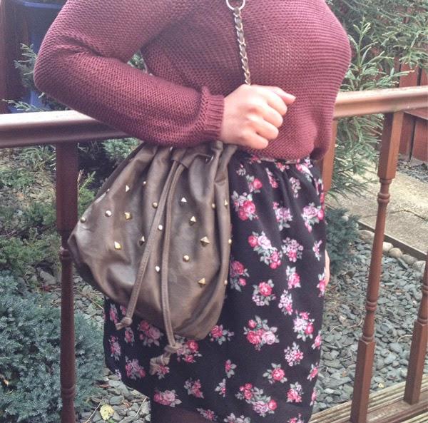 H&M Burgundy Jumper, River Island Skirt, New Look Ankle boots, ASOS Bag