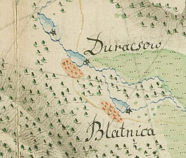 Duraczów i Błotnica, fragment mapy z 1797 r. - proszę zwrócić uwagę na zaznaczone koła wodne. Mapa ze zbiorów AGAD nr inw. 179-21.