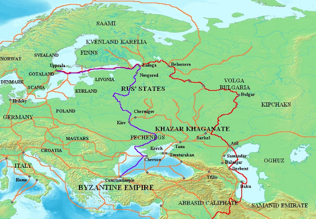Kievan Rus Trade Routes Map 8th And 11th Centuries This Is Major Kievan Rus Trade Routes Map