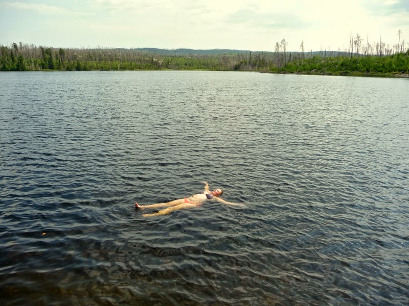 floating in Clove Lake, BWCAW