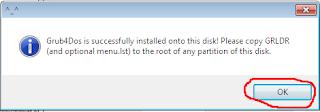 Install Grub4Dos Bootice WinSetupFromUSB berhasil