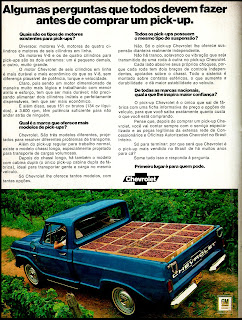 propaganda pick-up Chevrolet - 1972; 1972; brazilian advertising cars in the 70s; os anos 70; história da década de 70; Brazil in the 70s; propaganda carros anos 70; Oswaldo Hernandez;
