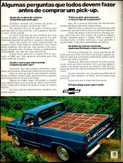 propaganda pick-up Chevrolet - 1972; 1972; brazilian advertising cars in the 70s; os anos 70; história da década de 70; Brazil in the 70s; propaganda carros anos 70; Oswaldo Hernandez;