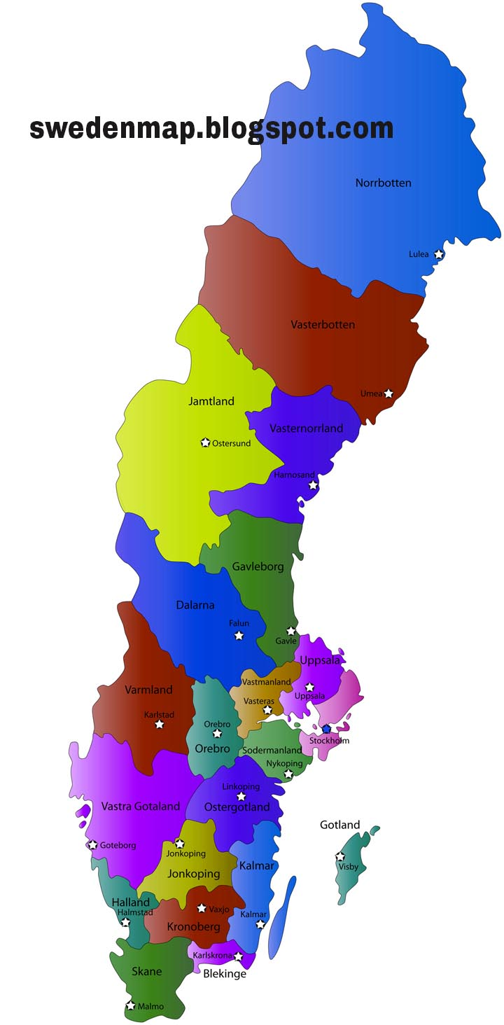 Sweden Political Regional Map Sweden Map Geography Physical - Sweden map physical