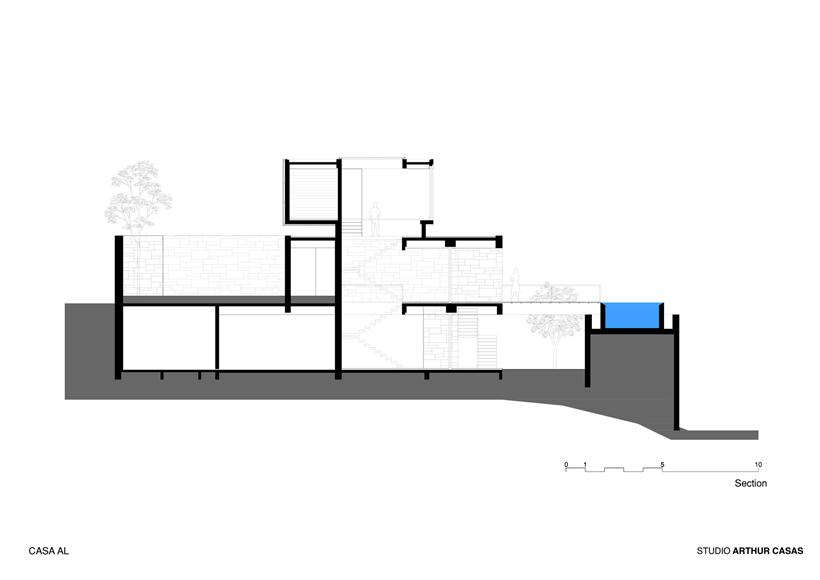 Section drawing of modern dream home in Rio