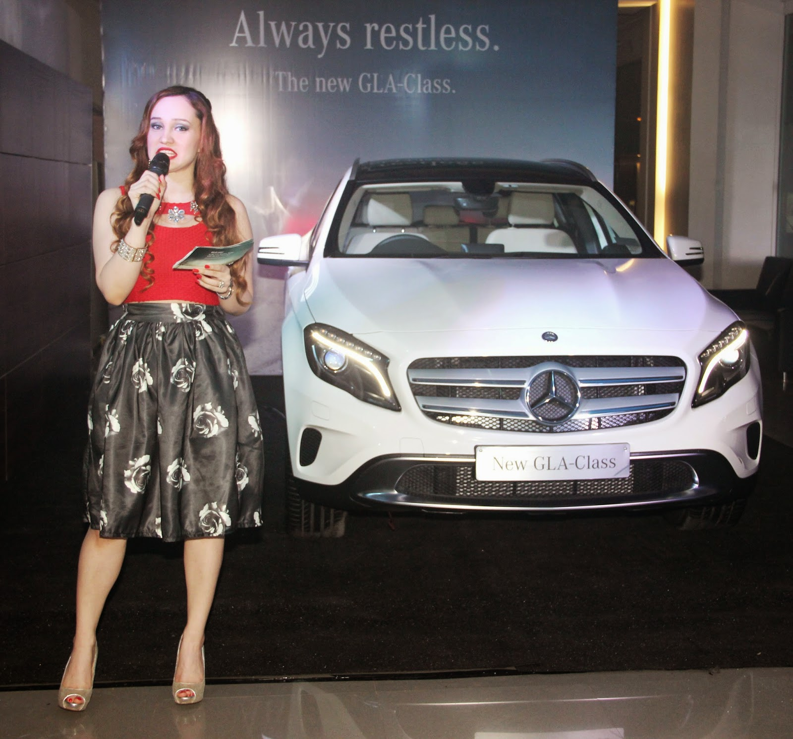 Stephanie Timmins hosting the Mercedes Benz GLA-Class Preview Event